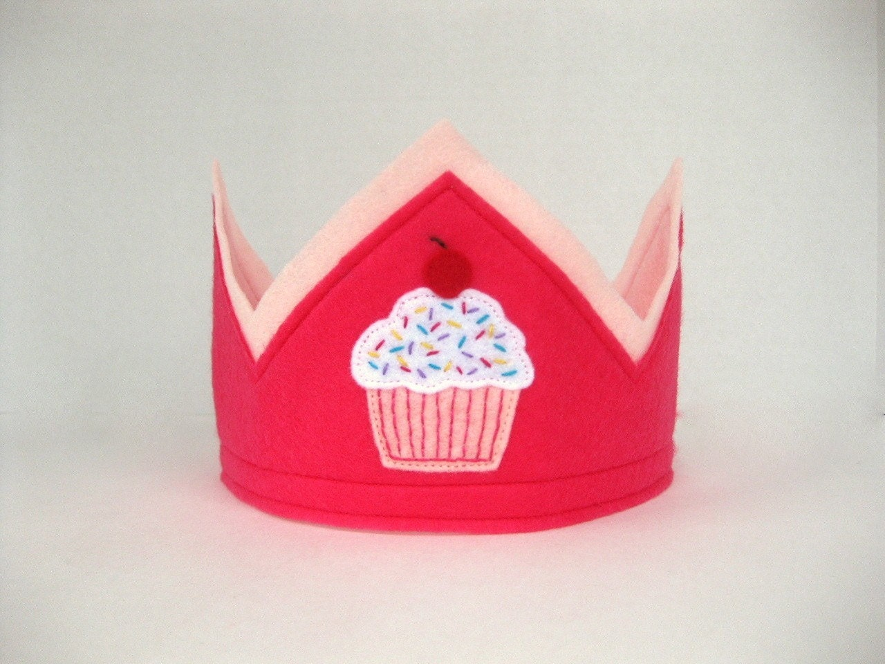Pink Felt Cupcake Crown -- GREAT FOR BIRTHDAYS