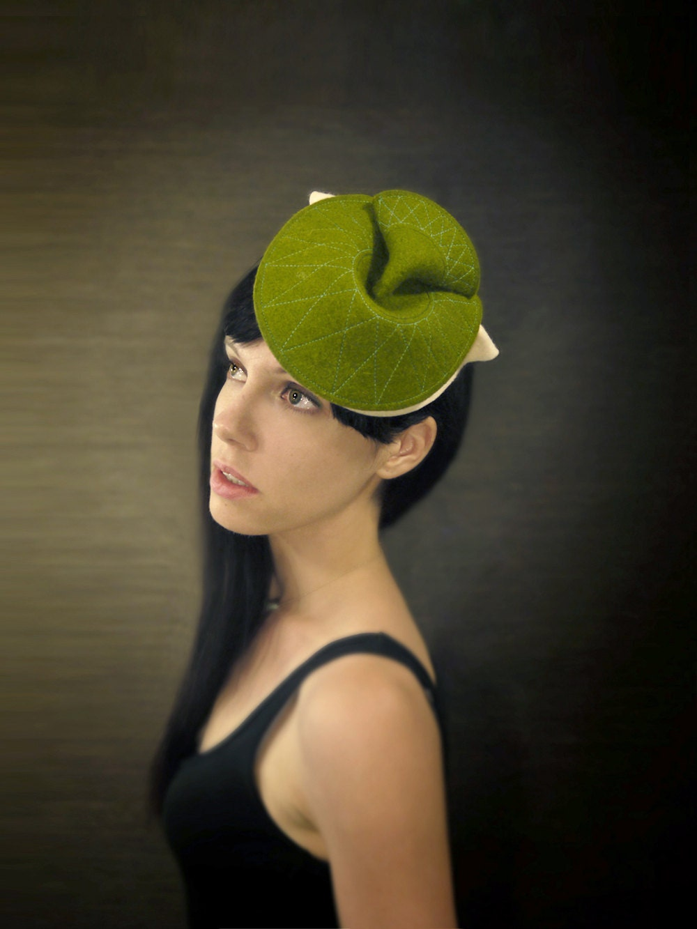 Green and Cream Felt Hat with Neon Green Feathers - Bantam Hat - Made to Oder - pookaqueen