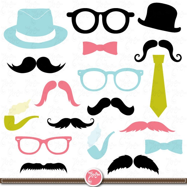 Mustaches Clip Art Spectacles  Photo Booth Printables Tie  Best    Photo Booth Clip Art