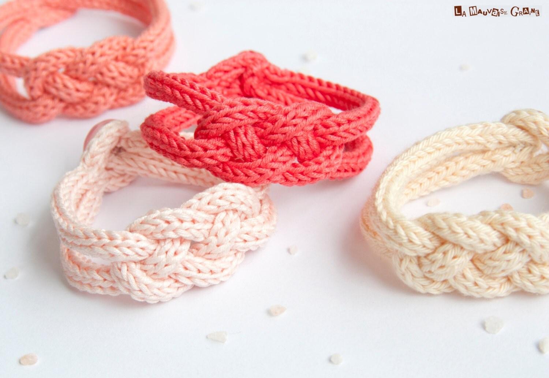 """Bracelet de tricotin tressé en coton - série """"Framboise et Pêche"""""""