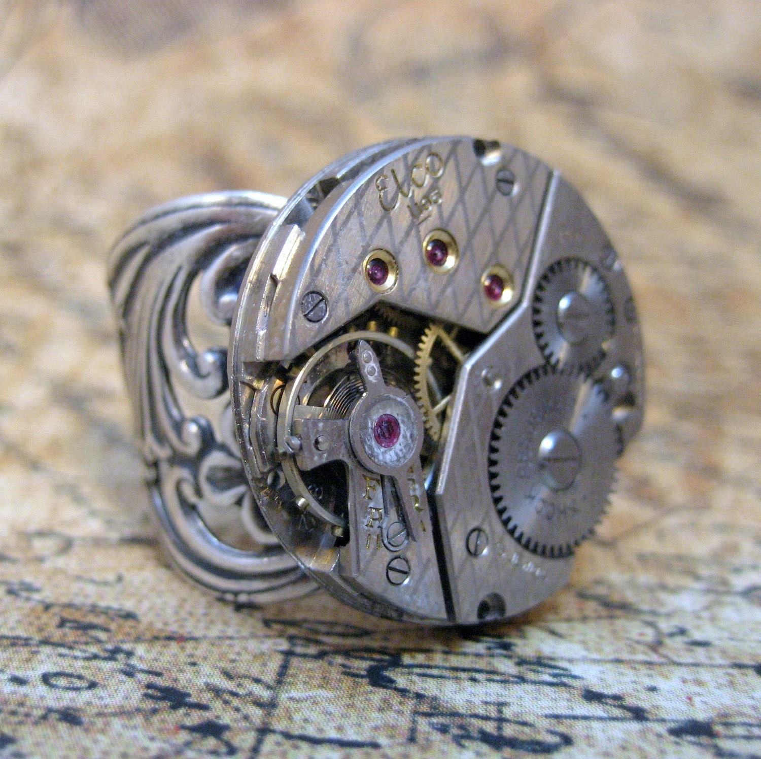 Argyle Steampunk Ring - Neo Victorian Antiqued Silver Tone Filigree - Vintage Repurposed Watch Movement - Hand Made and Designed by A Second Time
