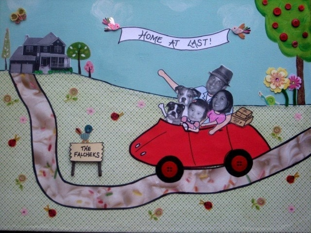 Family Car Ride to New Home 18x24 Custom Collage with photos including pets
