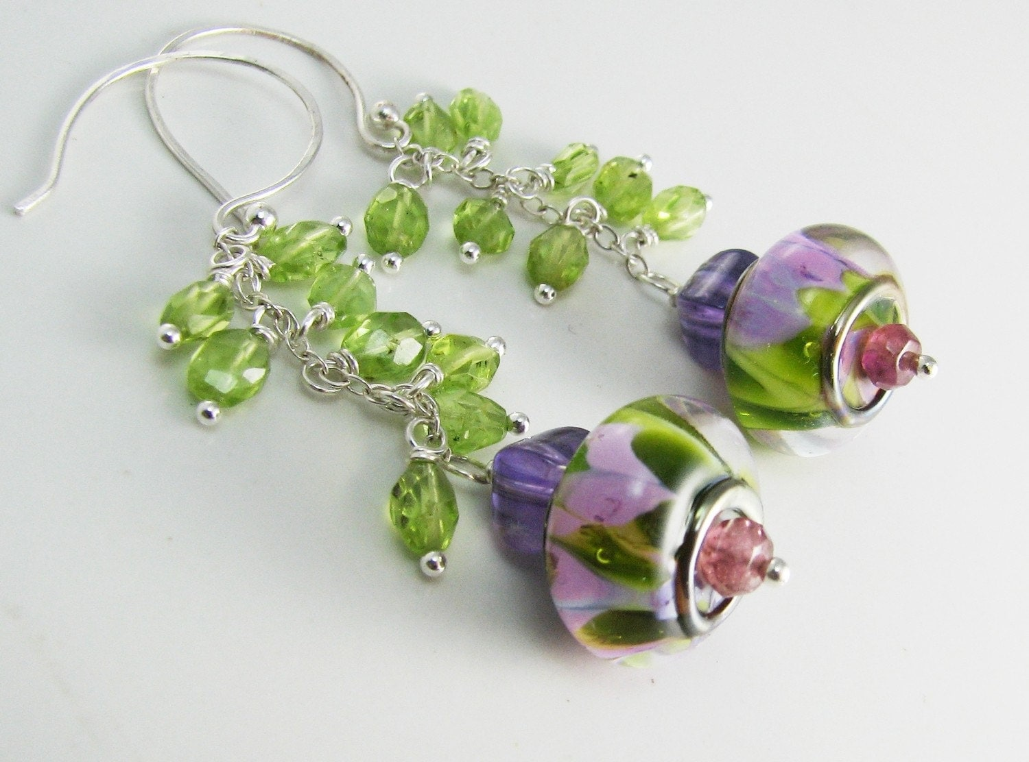 Peridot Garden and amethyst artisan lampwork earrings