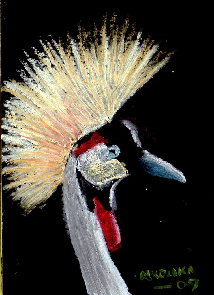 Original Oil pastel drawing of a Crested Crane