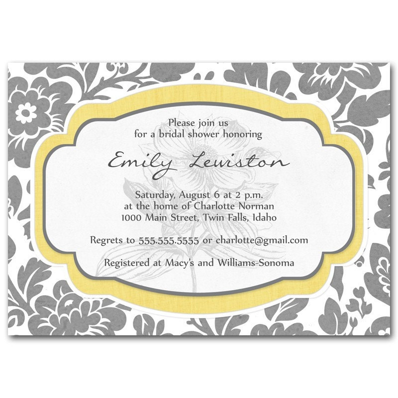 Vintage flower shower invitation, printed or digital, choose your color