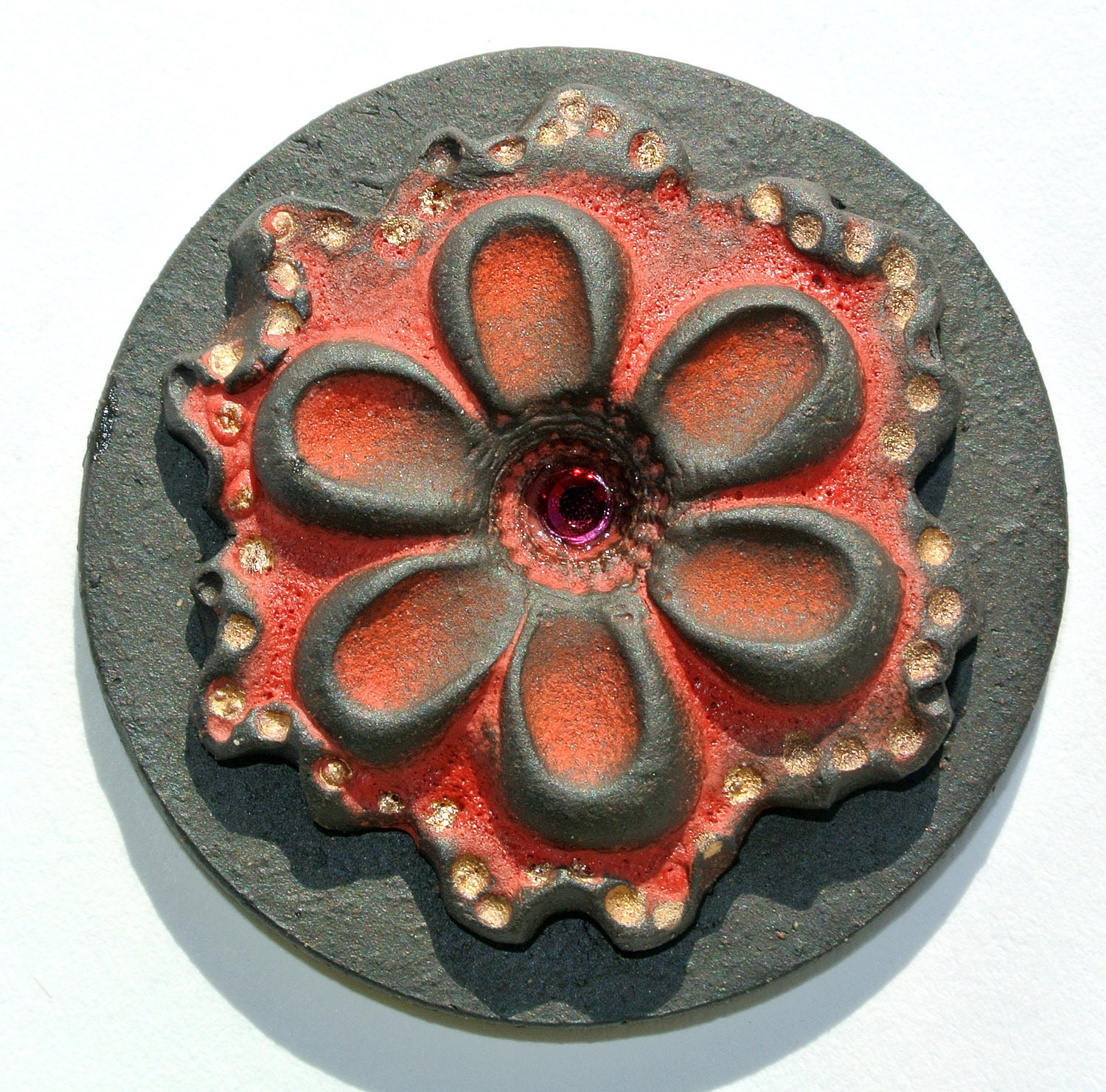 Handmade 2D Ceramic Cabochon - Red and Gold Flower