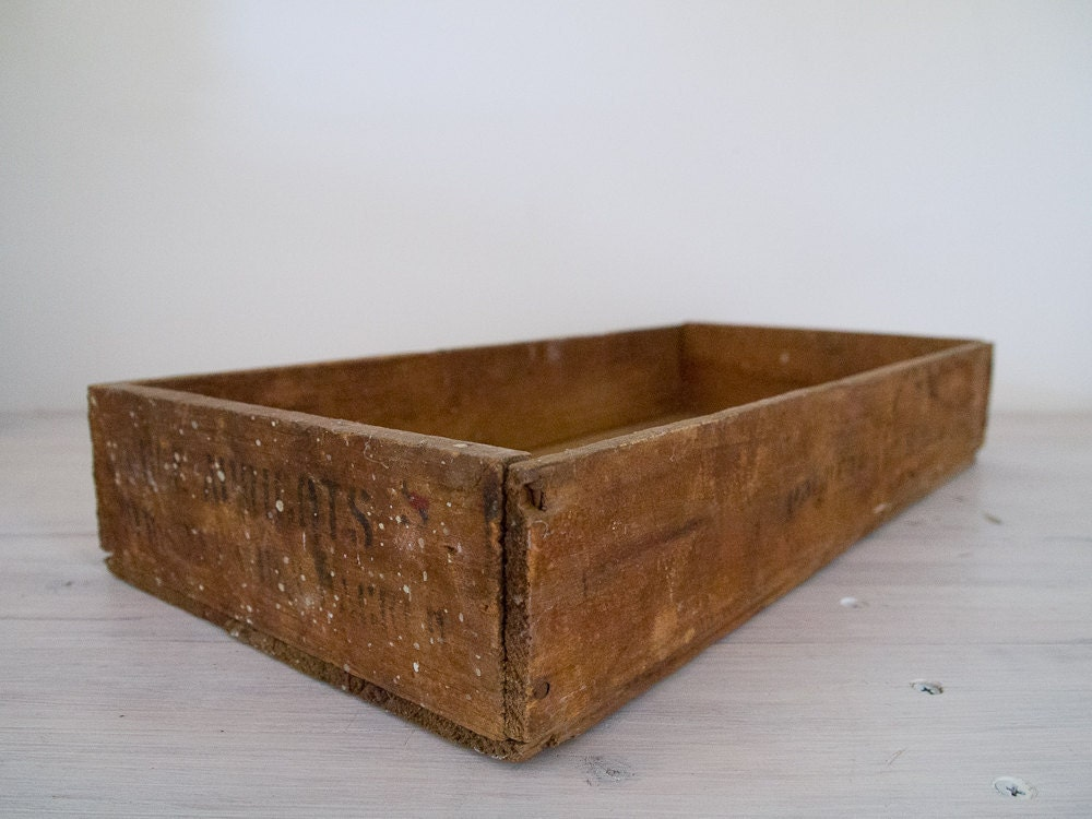 Vintage industrial shallow wooden fruit crate box by epochco for Wooden fruit crates