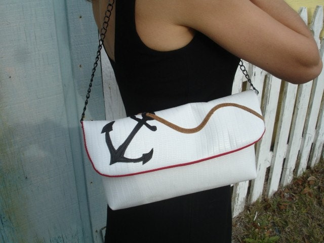 White Crocodile Leather Clutch with