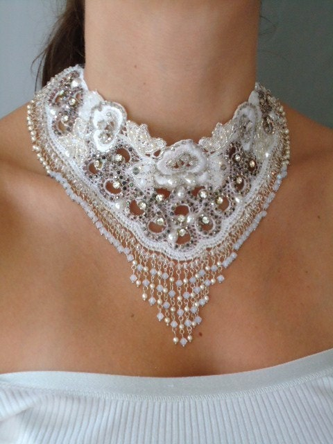 Bridal choker embroidery lace, ooak