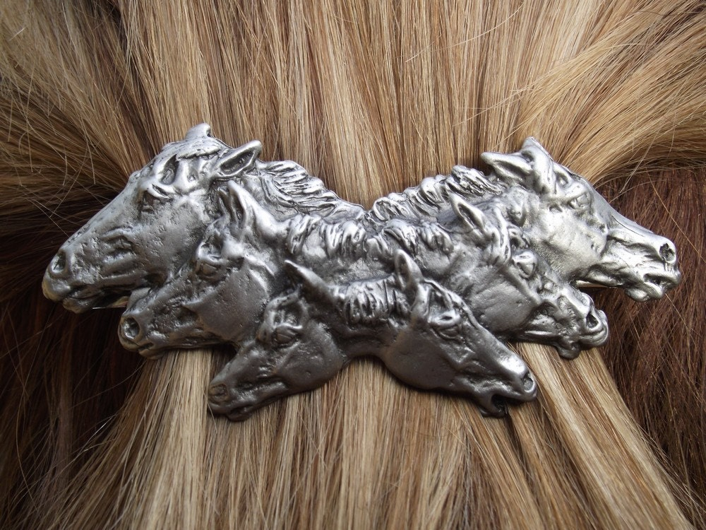 Six horses barrette lead free pewter sculpture SATIN finish, French clip Equine jewelry - ForgeHillSculpture