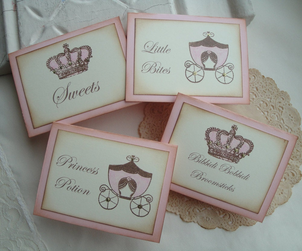 Princess Party Candy Buffet Table Food Tents Labels Shabby Chic Cinderella Birthday