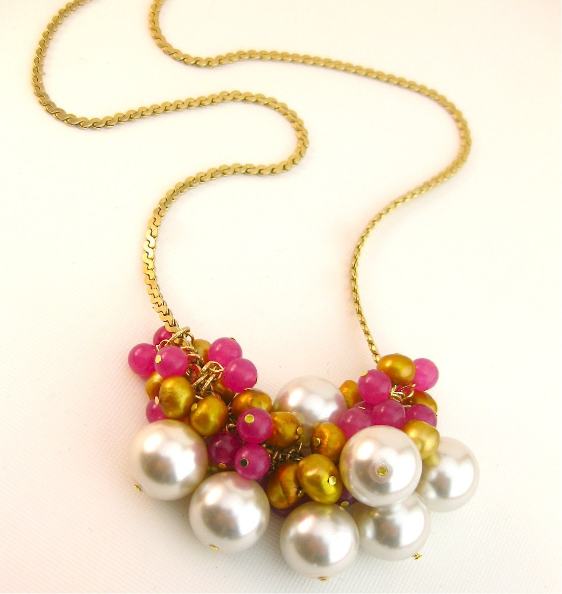 Candy Coated Cluster Necklace Reclaimed Jewelry