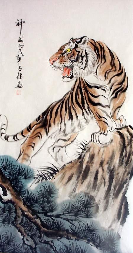 Ancient chinese tiger drawing - photo#5