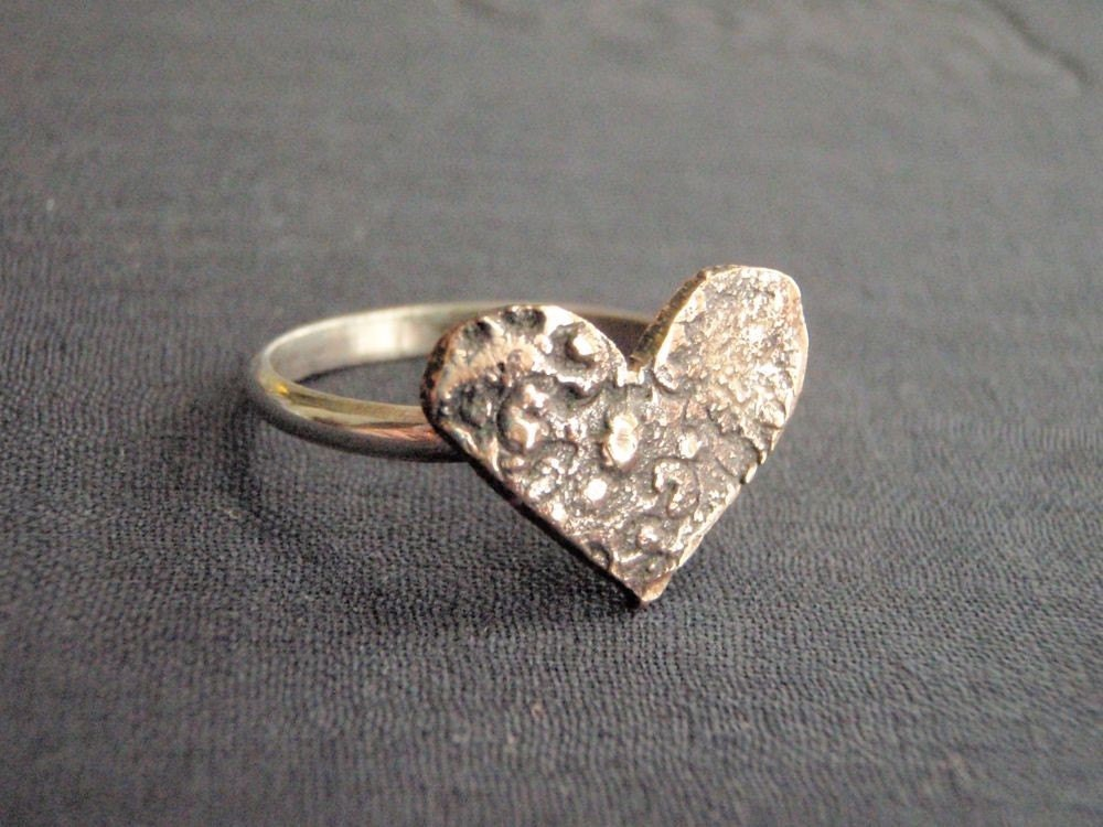 love token ring.  rustic bronze heart medallion, sterling band