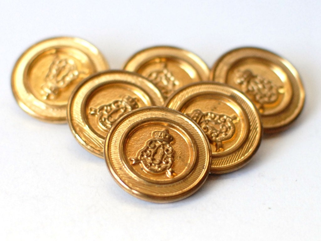 Vintage antique gold metal buttons set of 6 by for Craft buttons for sale