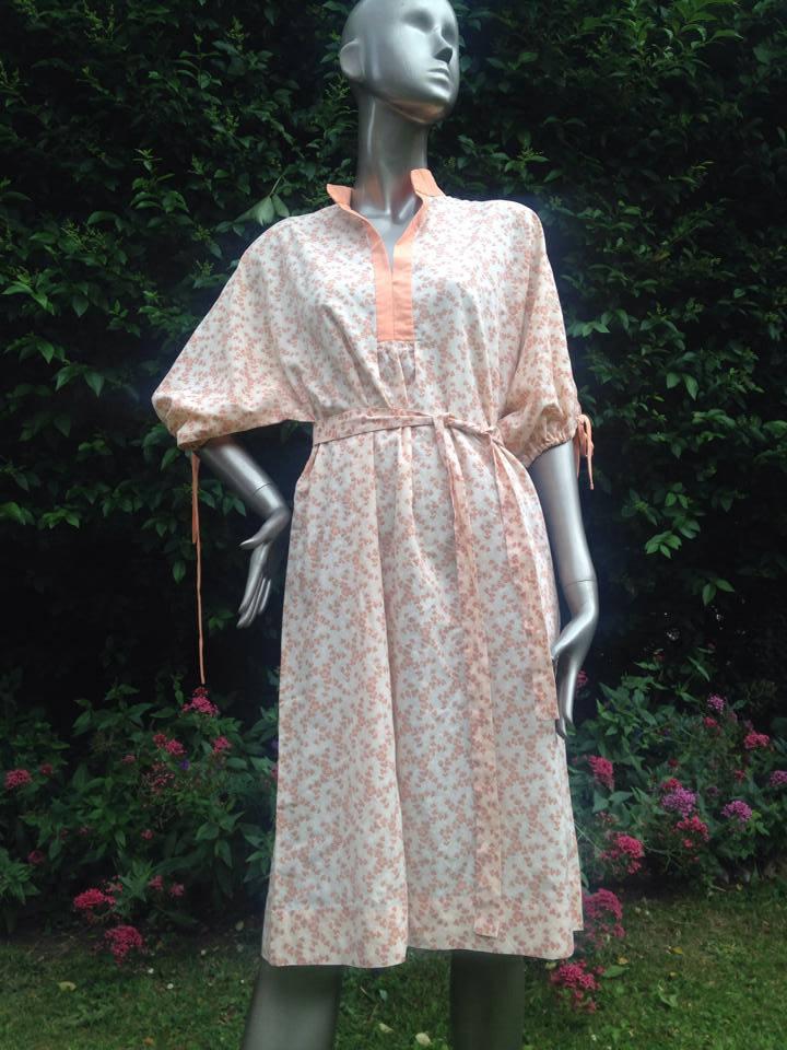 Vintage 1970s hand made brown and orange cotton nightie night dress. Festival or summer dress. Mandarin collar.