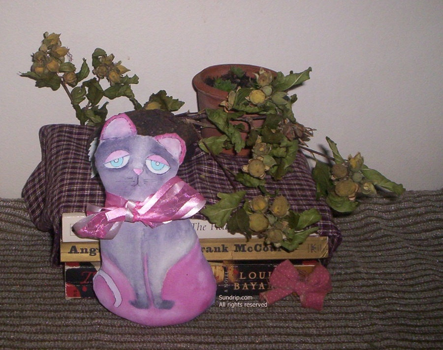 Pink Purple Cat Blue Eyes Handmade