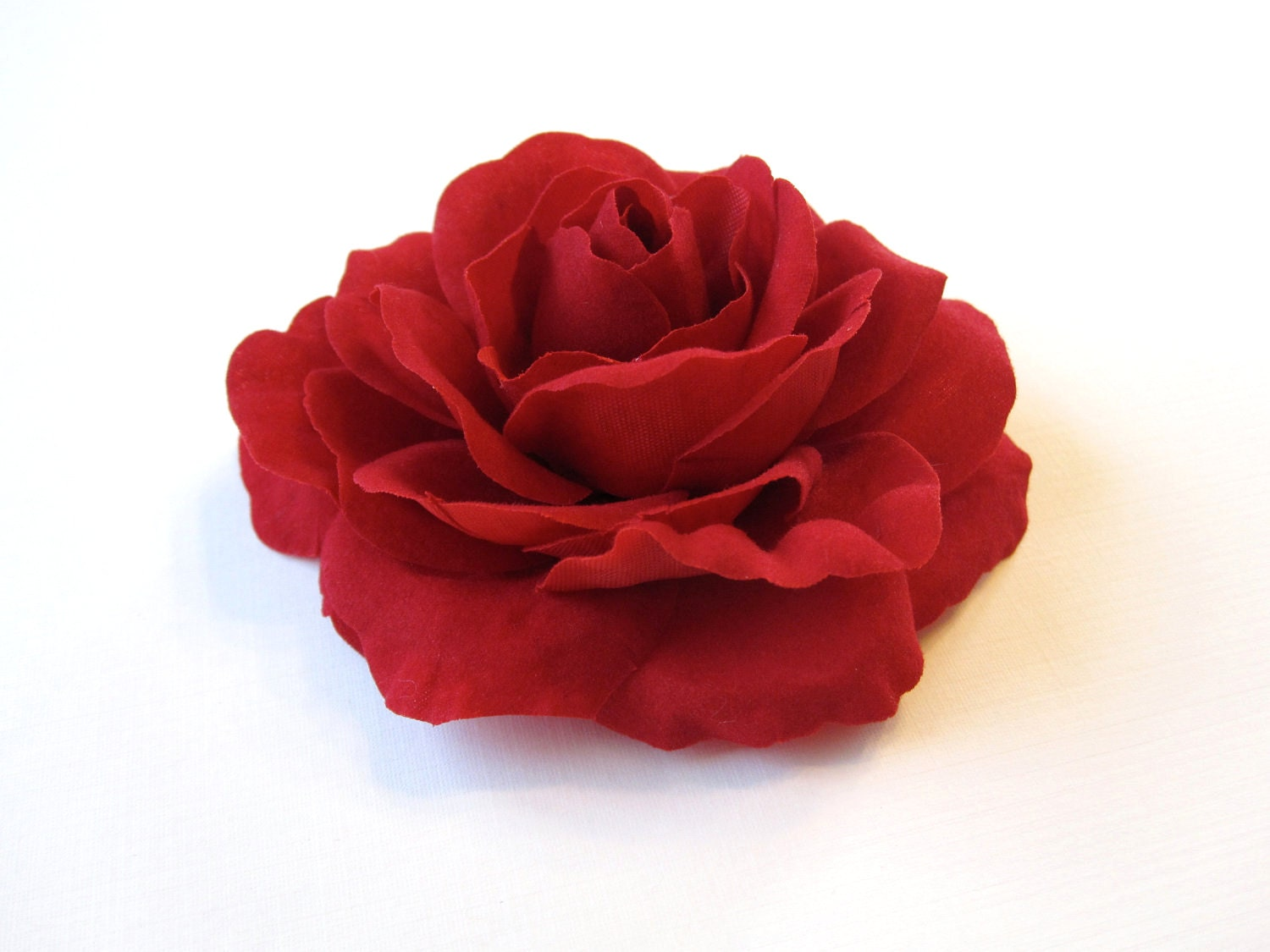 Fabric Flower Hair Clip, Brooch, or Pin - Crimson Red Velvet Rose - HairFair