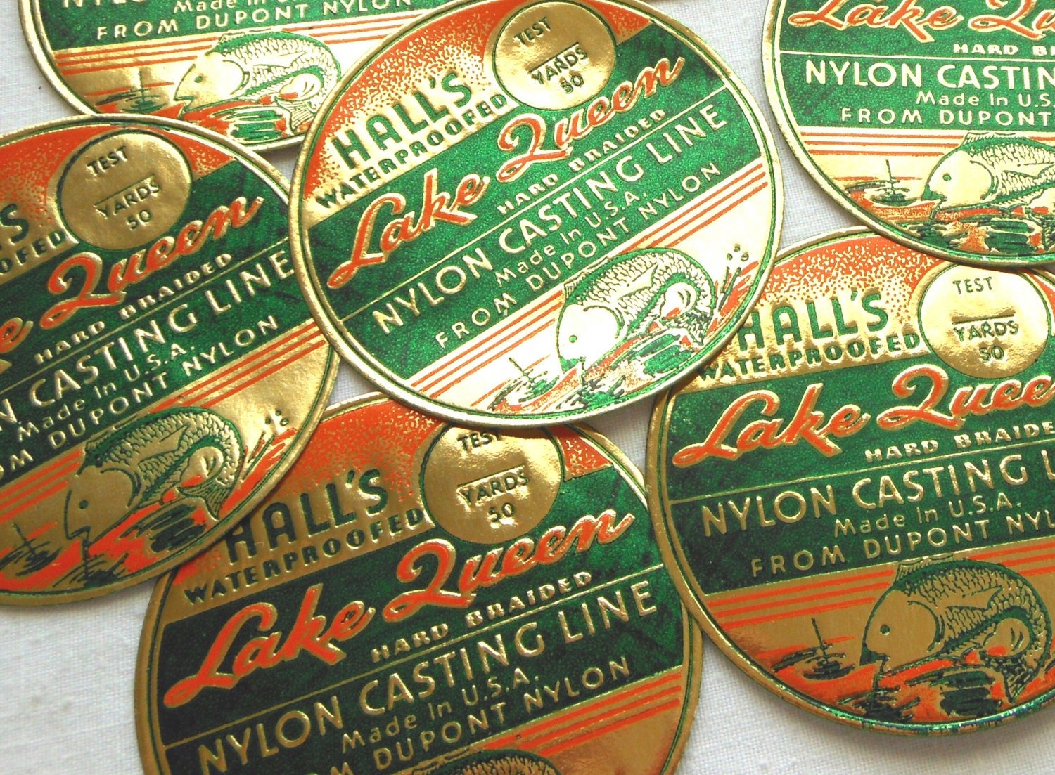 Vintage Fishing Line Labels - Rare 1940s Embossed Orange, Green, and Gold Labels - Hall's Lake Queen Nylon Casting Line Labels - LisasCraftShoppe