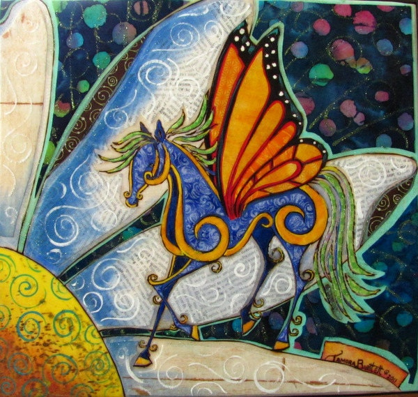 "Mixed Media Fabric Collage ""The Daisy Trot"" - FluttersandMane"