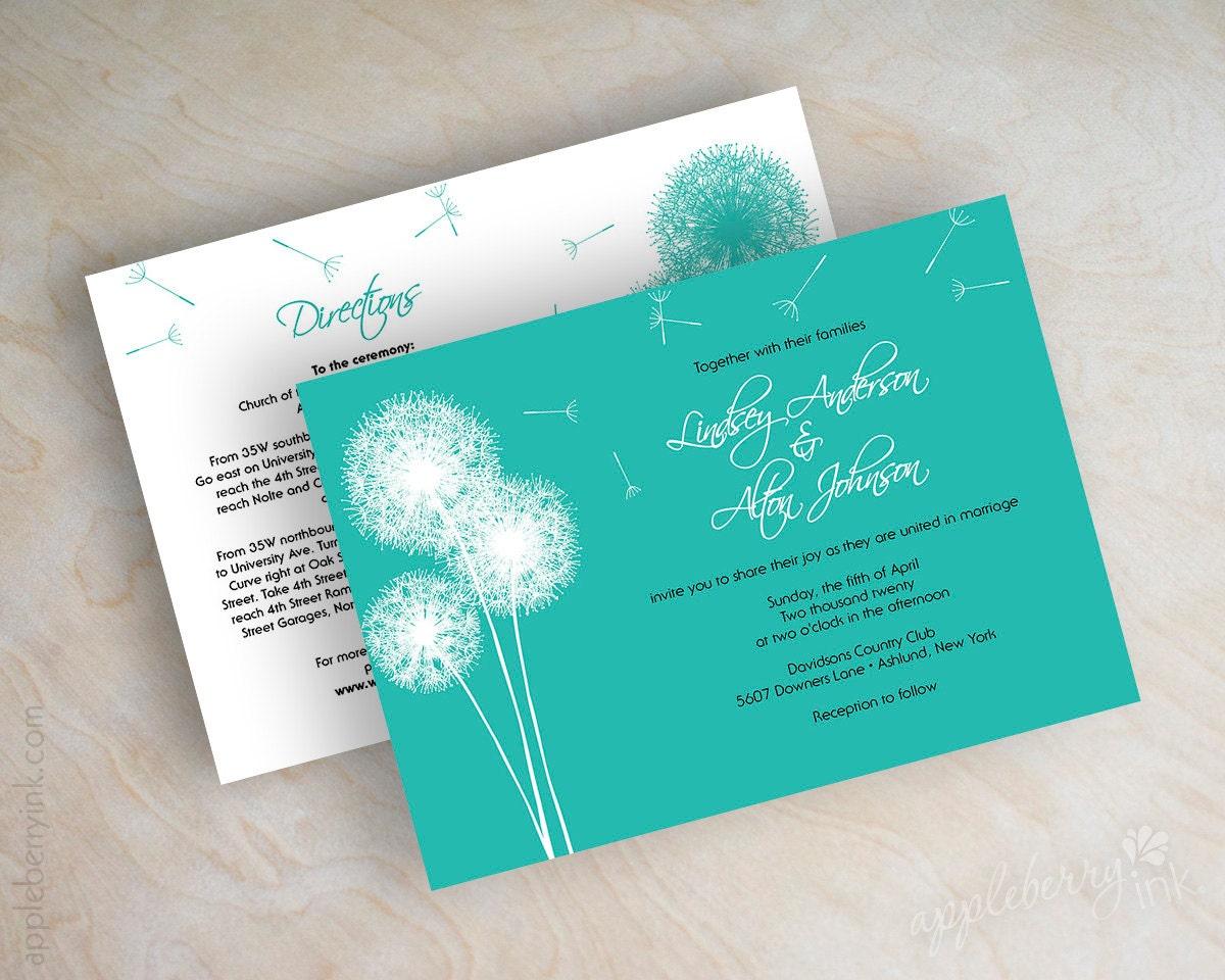 dandelion wedding invitation simple wedding invitation country
