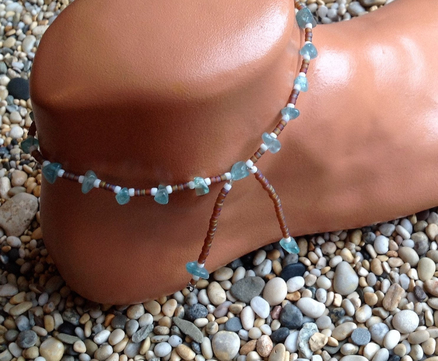 Apatite crystal with frosted topaz and white glass beaded anklet with beaded tassels
