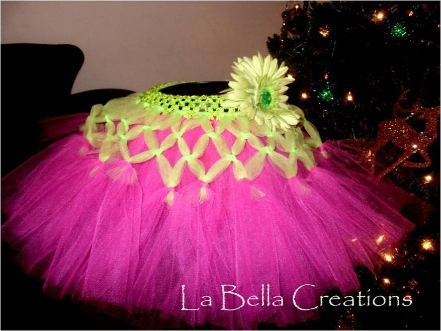 Lime Green and Pink Criss Crossed Embellished Tutu