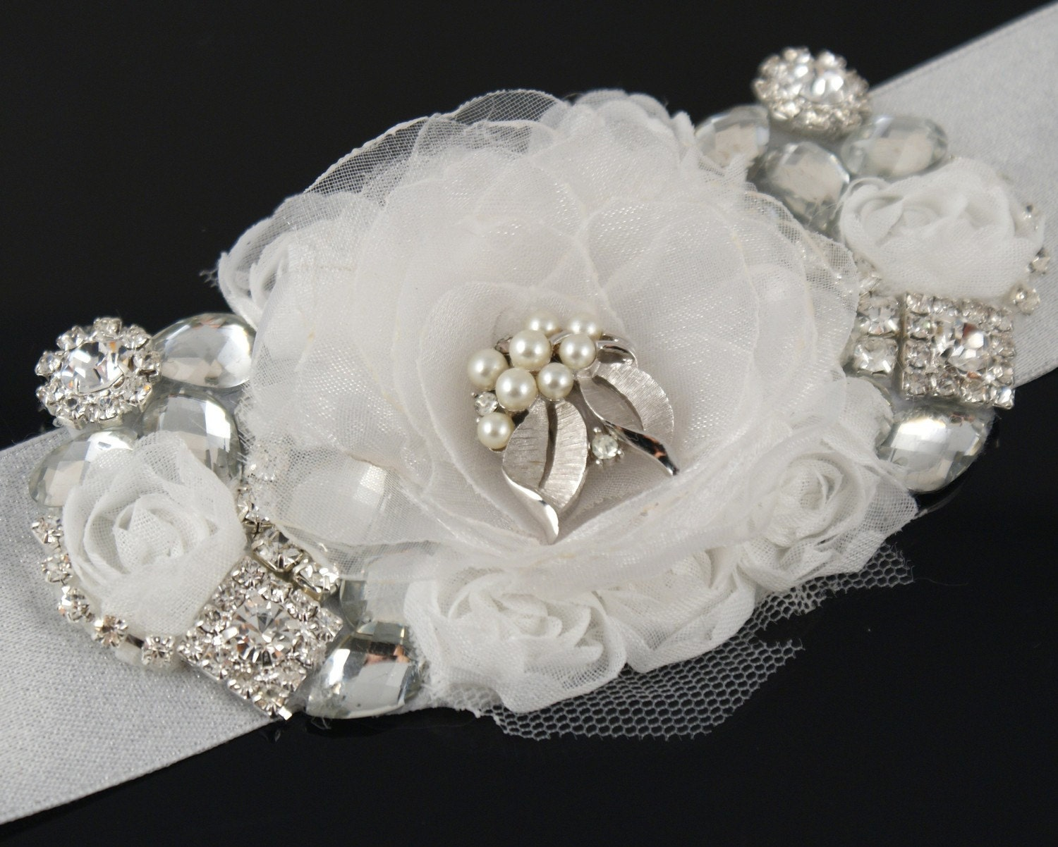 Silver Adornment - Bridal Statement Cuff - Corsage with White Organza Flower, Silver Jewels and Vintage Brooch