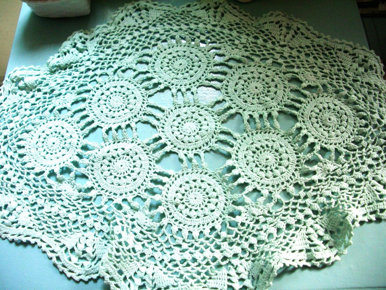 Vintage Doiley -  Shabby Chic - Hand Crochet -  Teal  -  Dresser