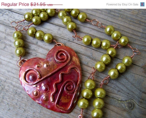 ON SALE Solid Copper Heart Green Glass Pearl Wire Wrapped Necklace - gristmilldesigns