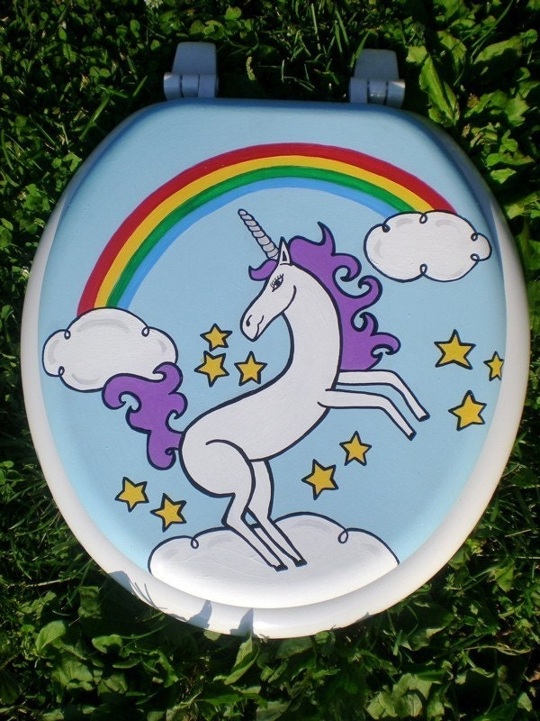 Unicorn and Rainbow Toilet Seat Hand Painted by OmGurl