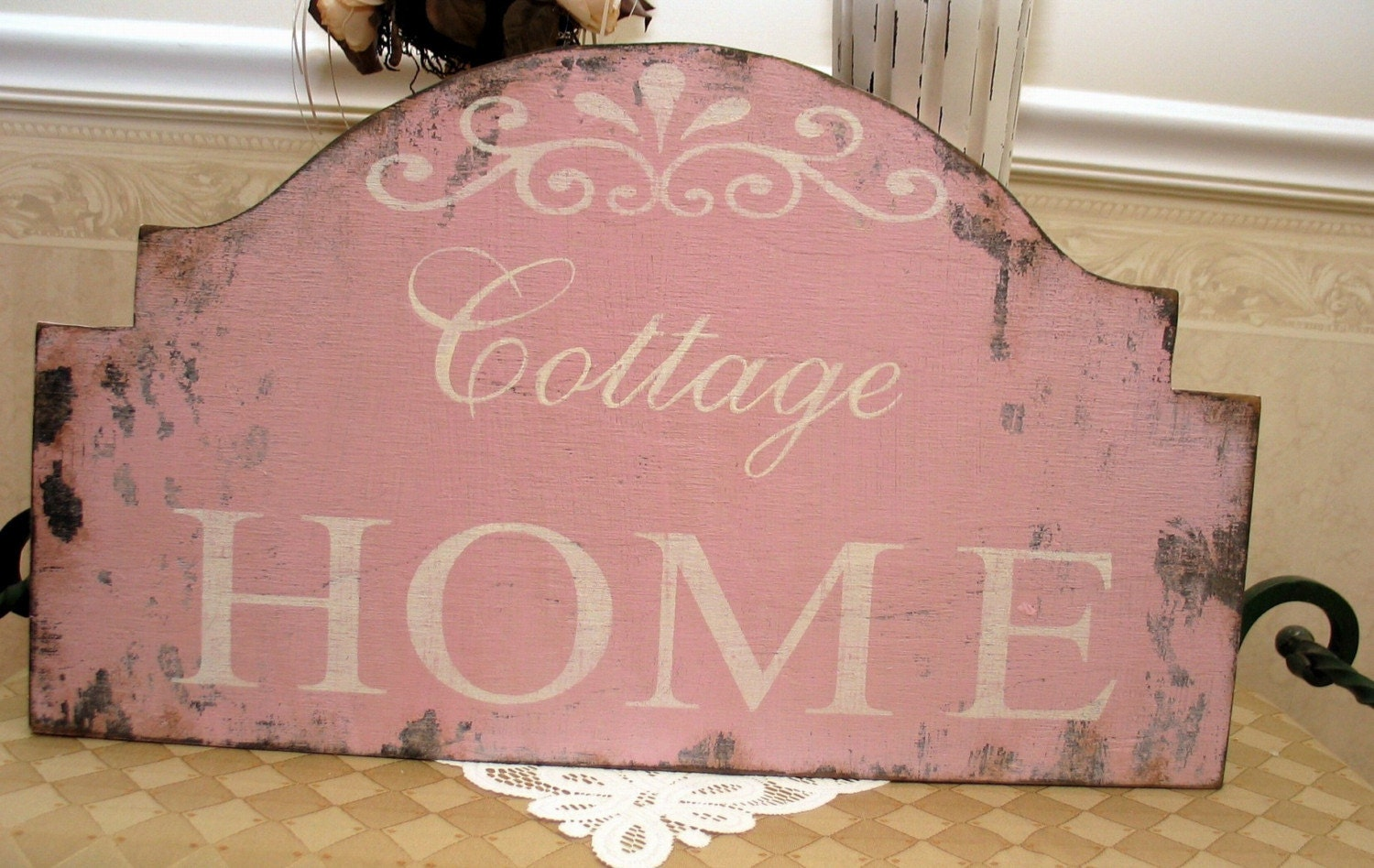 COTTAGE HOME shabby chic sign vintage style distressed pink cottage style chippy