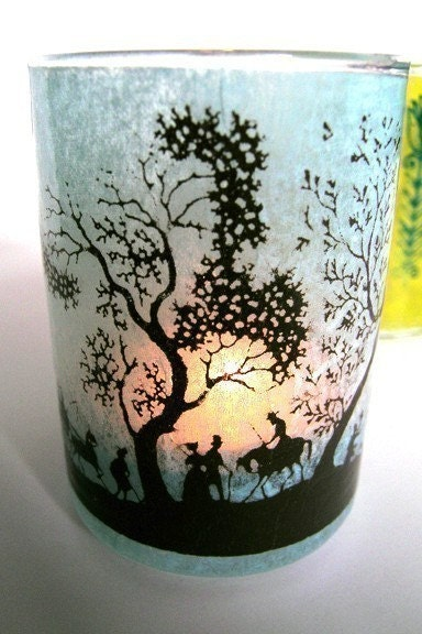 Silkscreened Scenic Votive Holder