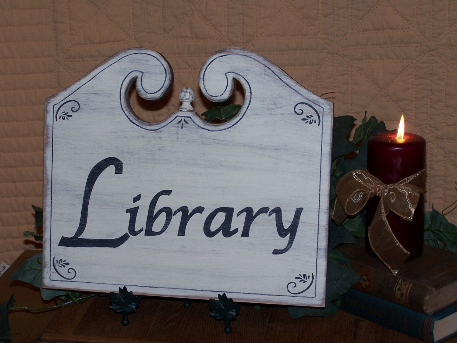 Classic Wooden Library Wall Hanging Home Decor Sign Shabby Chic Distressed