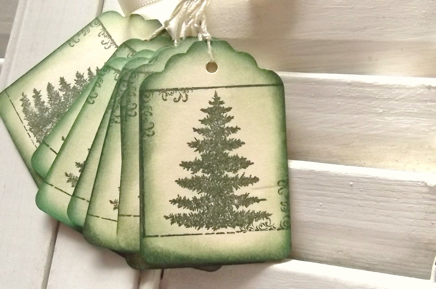 Pine Tree Tags - Nature, Scrolls, Elegant, Green and Cream 8 - SweetlyScrappedArt
