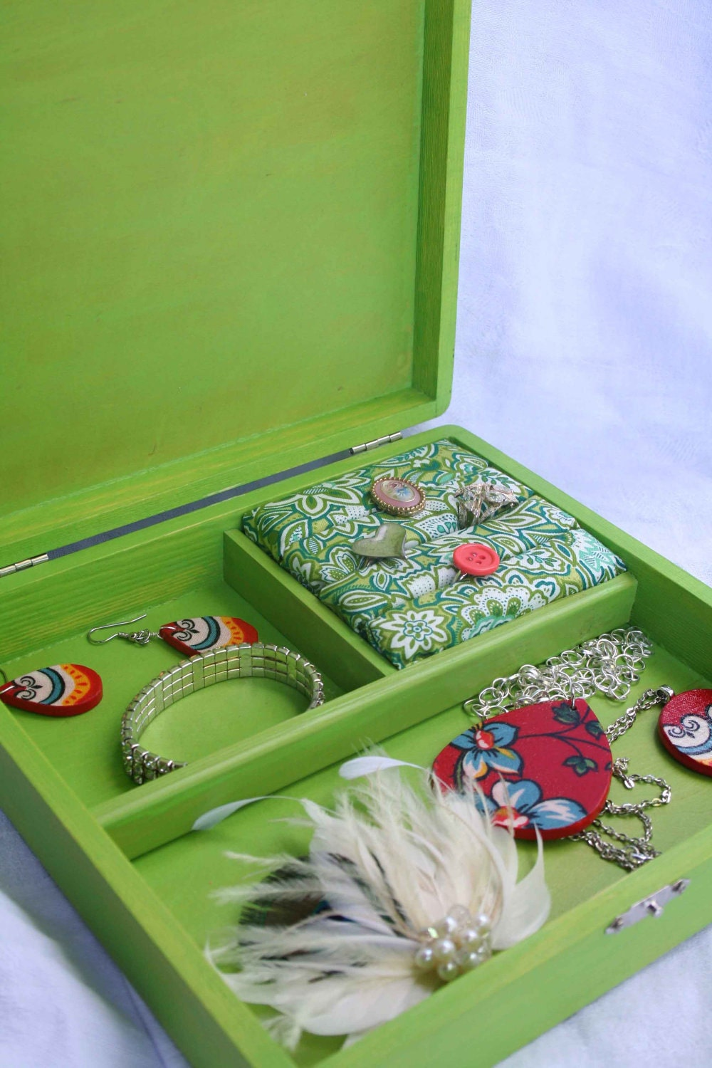 Handpainted Jewelry Box- Green and Blue Owl Pattern