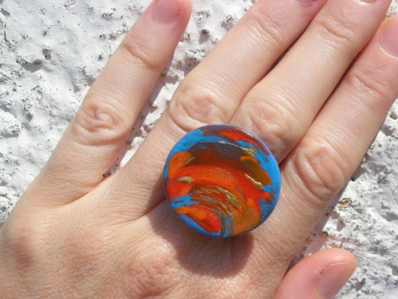 AEGEAN ЗАКАТ Handpainted Вуд искусства кольцо - Избранные на EtsyLUSH