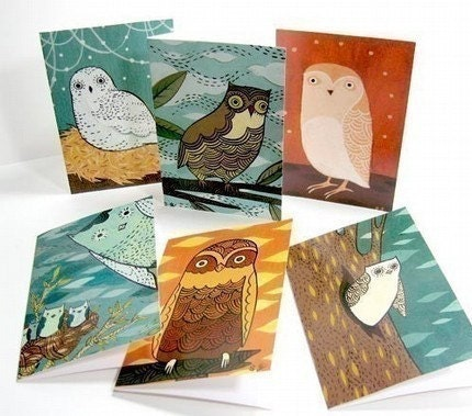 OWL NOTE CARDS, set of 6 notecards, by boygirlparty, original bird owl illustrations - blank card set, greeting card, colorful stationery