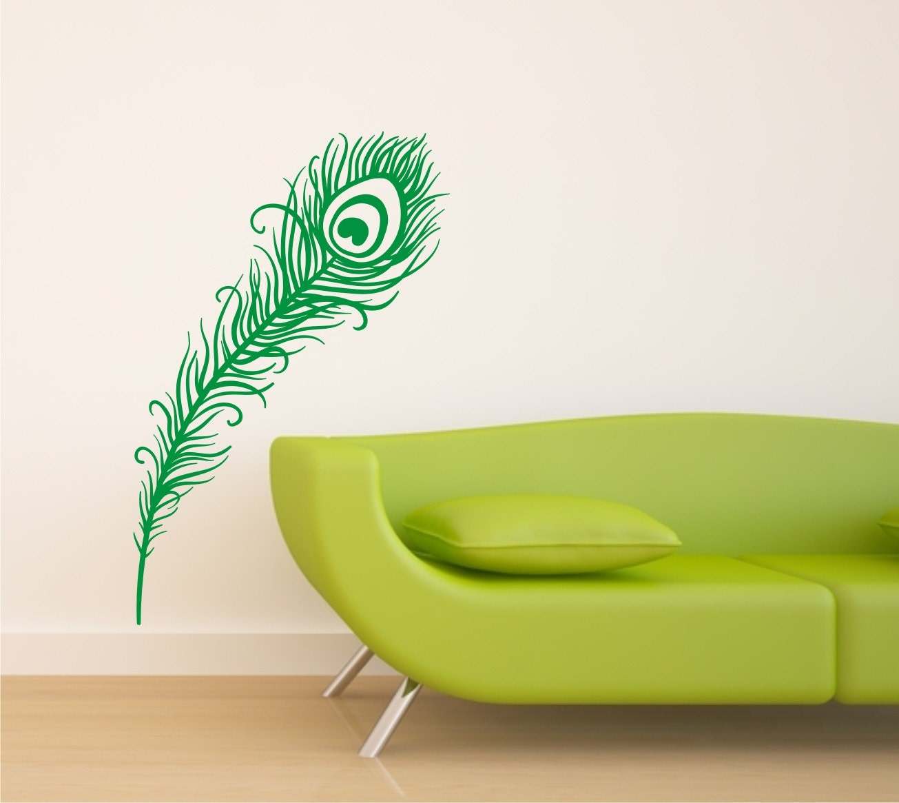 items similar to peacock feather vinyl wall sticker on etsy stickerskart wall stickers oh dreamy peacock feather 57116