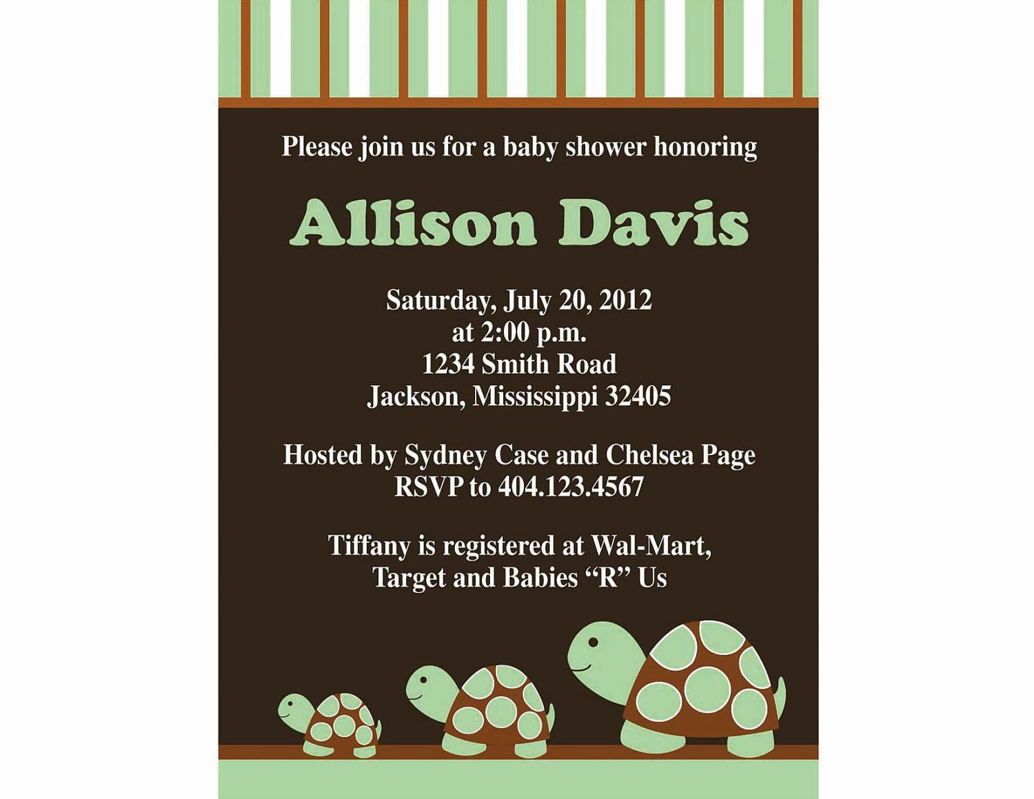 Baby Turtle Shower Invitation Postcard for baby boy or baby girl - KissyCrafts