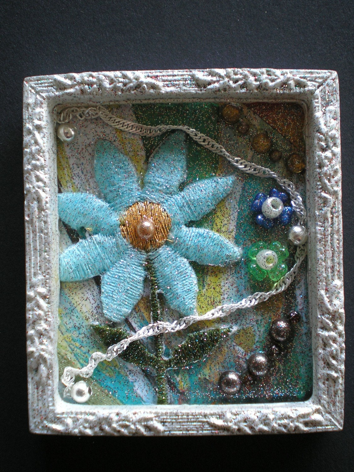 OUTSIDE - Tiny Collage Mixed Media OOAK Framed Signed with Beads Flowers Silver Chain