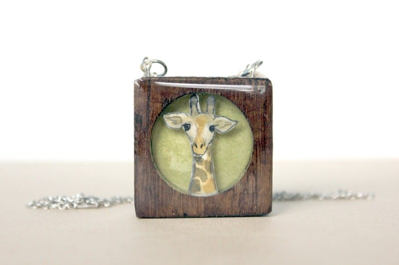 green giraffe necklace- hand made painted wooden necklace- summer fashion - Giraffe in wood