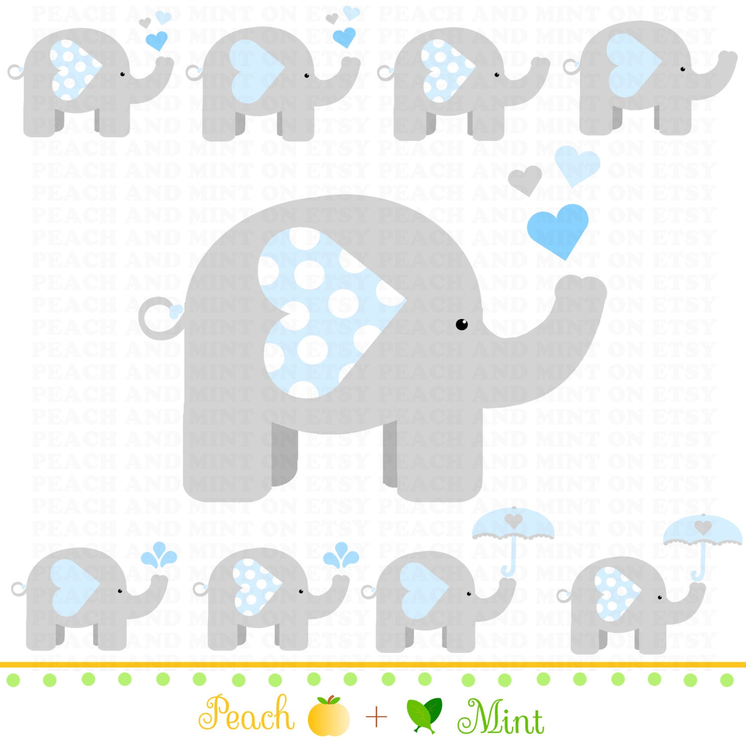 Baby shower blue elephant clip art