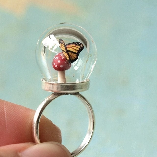 Tiny Woodland Terrarium Toadstool Mushroom and Monarch Butterfly Ring