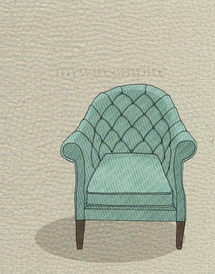tufted chair (teal wave) - print