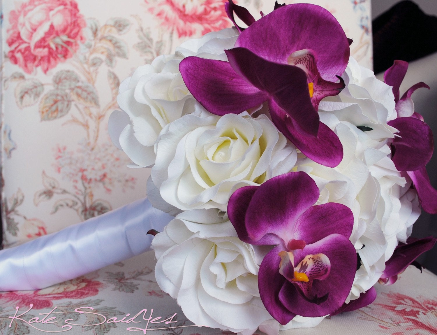 White Rose and Fuchsia Pink Orchid Bridal Bouquet