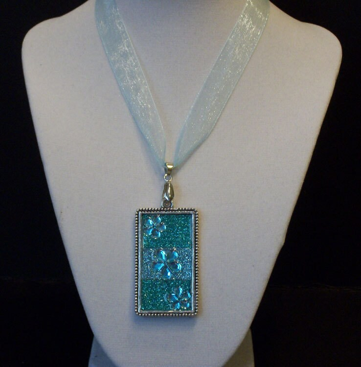 Blue and Green Glitter Pendant Necklace
