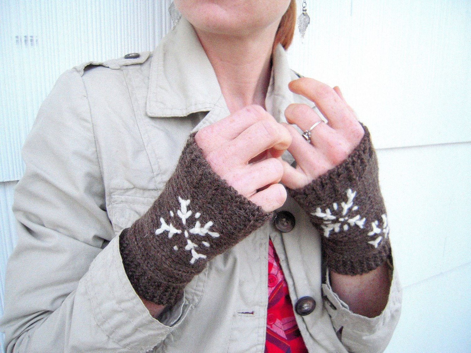 Wooly fingerless mitts, The First Snowfall free shipping