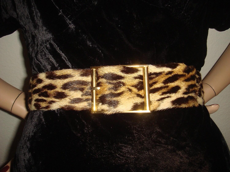 Vintage 50s 60s Leopard Print Real Fur Belt / Vintage 1950s 1960s CALDERON Designer Belt XS S
