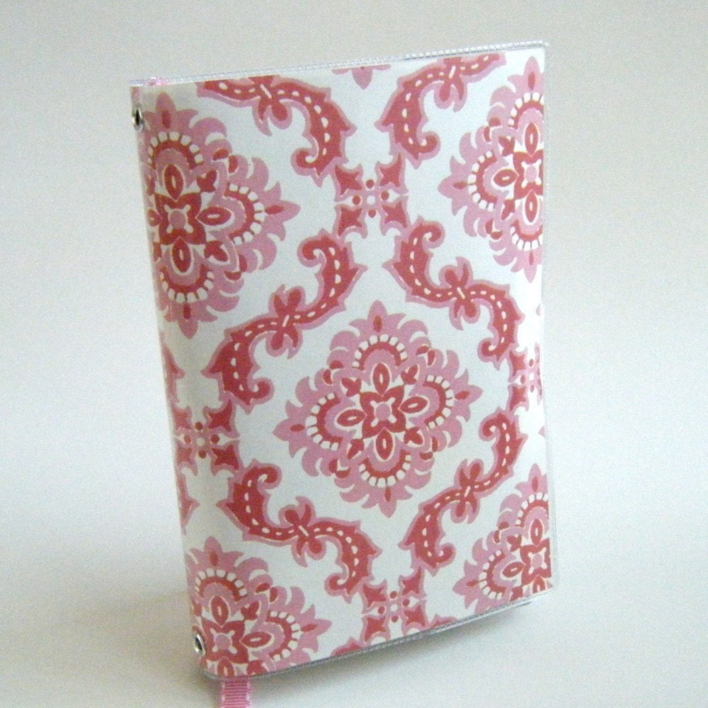 Pink Damask Book Cover with Ribbon Bookmark - SMALL Mass Market Paperback Size